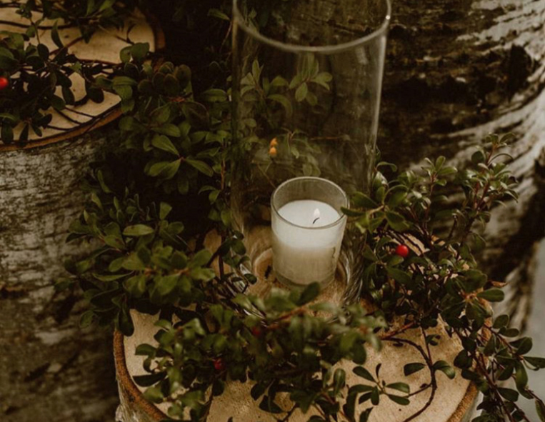Greenery Candle Rustic Decor